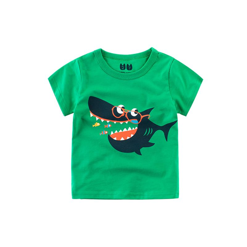 Cool Shark Print Cotton Tee T-shirt Top Short-sleeve for Toddlers Big Boys