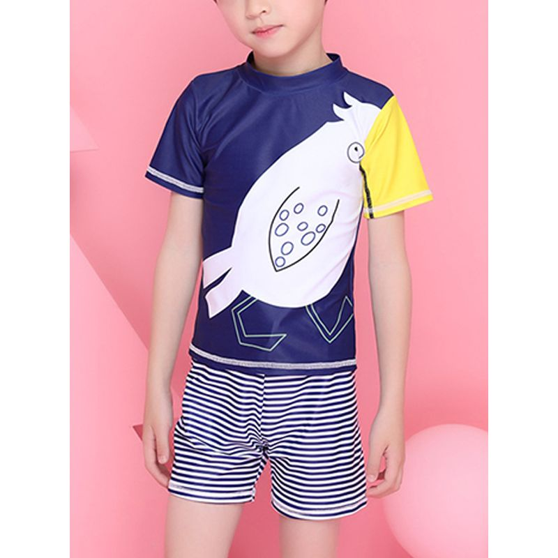 2-piece Toucan Pattern Elastic Swimwear Set Swimming Beach Top Shorts Pool Hot Spring for Toddlers Boys