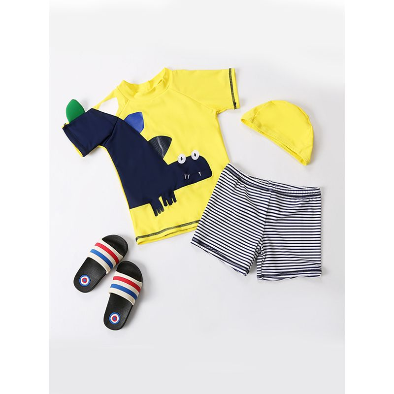 2-piece Cute Dinosaur Pattern Elastic Swimwear Set Swimming Beach Top Shorts Pool Hot Spring for Toddlers Boys