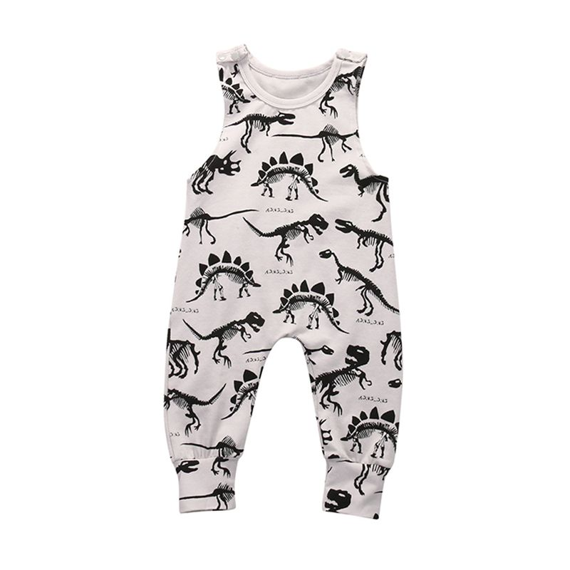 Dinosaurs Printed Baby Onesies Romper Sleeveless Cotton Jumpsuit