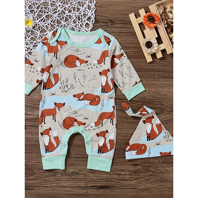 2-piece Red Fox Printed Hat Romper Set Pointed Cap Cotton Baby Jumpsuit