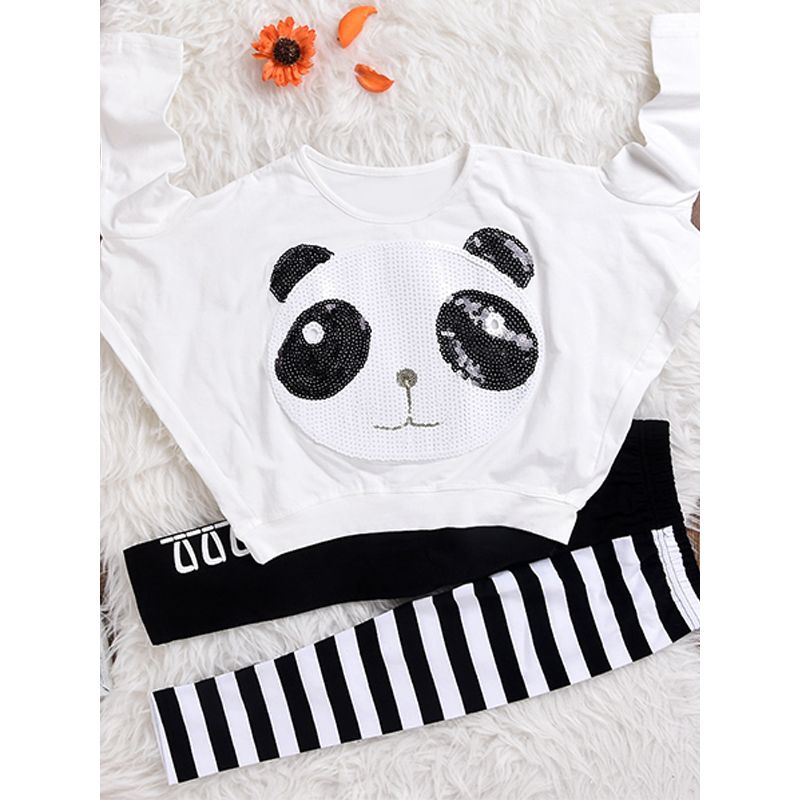 2-piece Top Pants Toddler Set Panda Print Sequins Long Sleeves T Shirt Stripes Kids Trousers