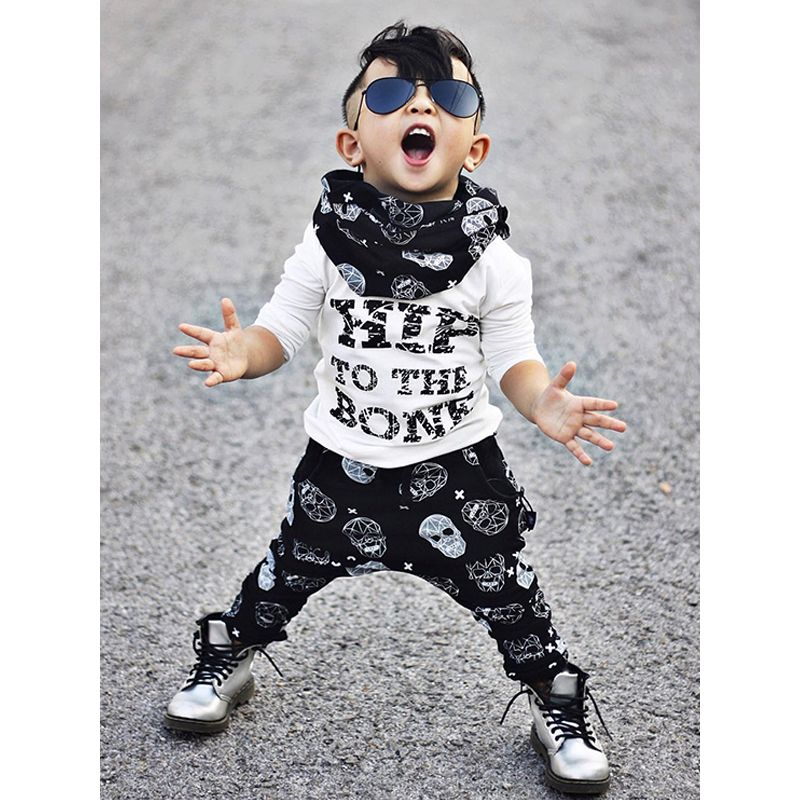 2-piece Top Pants Baby Toddler Set Letters Printed Tees Skull Harem trousers