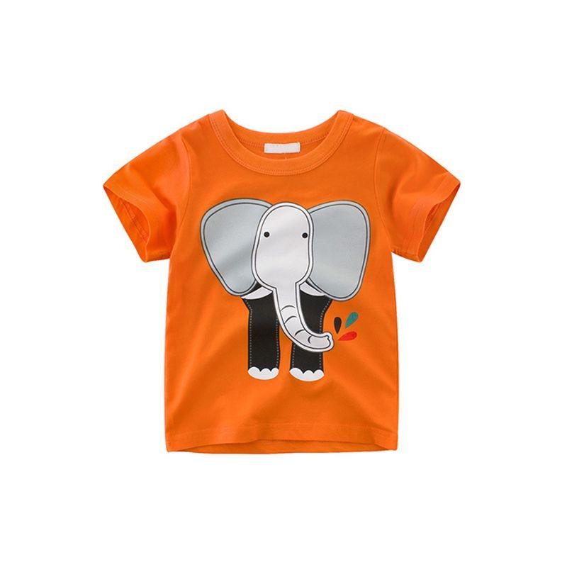 Elephant Dinosaur Crab Bird Print Cotton Tee Short-sleeve T-shirt Top for Toddlers Boys