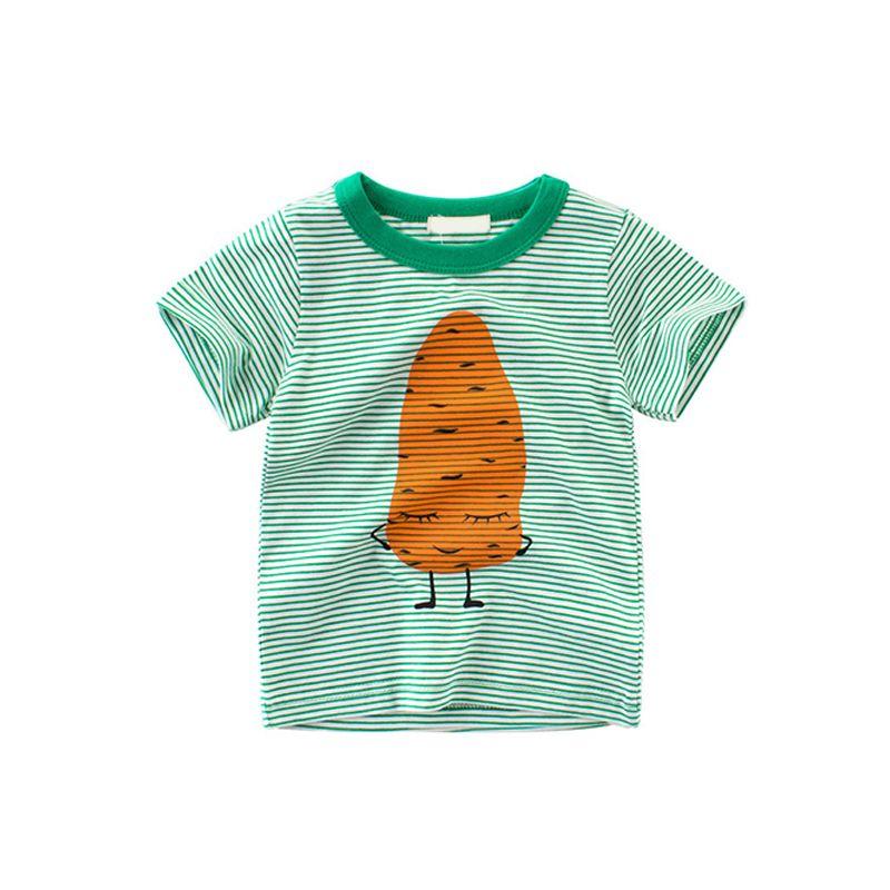 Green Striped Cute Potato Print Cotton Tee Short-sleeve Top T-shirt for Toddlers Boys Girls