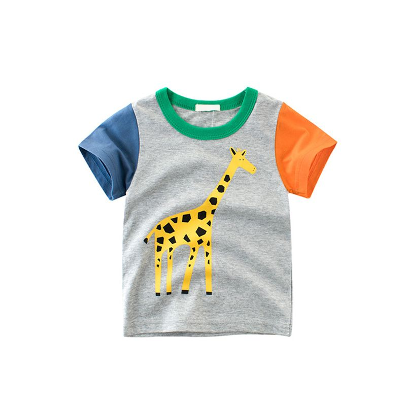 Cool Cartoon Lion Giraffe Print Cotton Tee Short-sleeve T-shirt Top for Toddlers Boys