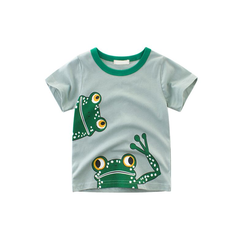 Cartoon Frog Print Cotton Tee Short-sleeve T-shirt Top for Toddlers Boys