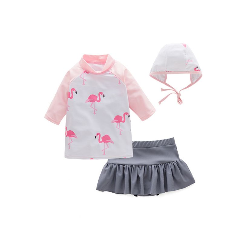 3-piece Flamingo Birds Print Swimwear Set Swimming Top Hot Spring Bottom Pool Cap for Toddlers Girls