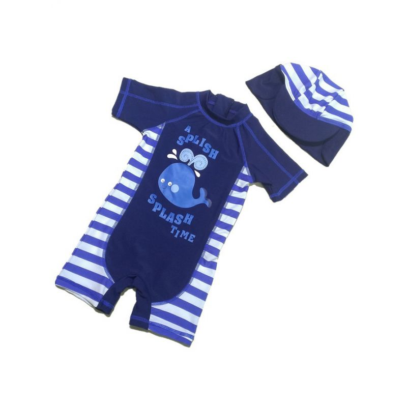 2-piece Cartoon Whale Print Striped Swimwear Set Swimming Jumpsuit ZIp-up Hot Spring Pool Cap for Toddlers Boys