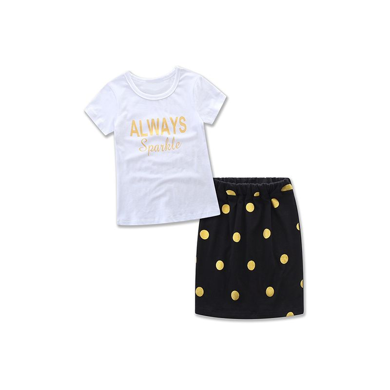 2-piece MOMMY AND ME Top Skirt Family Matching Set Letters Printed Tees Polka Dots Skirt