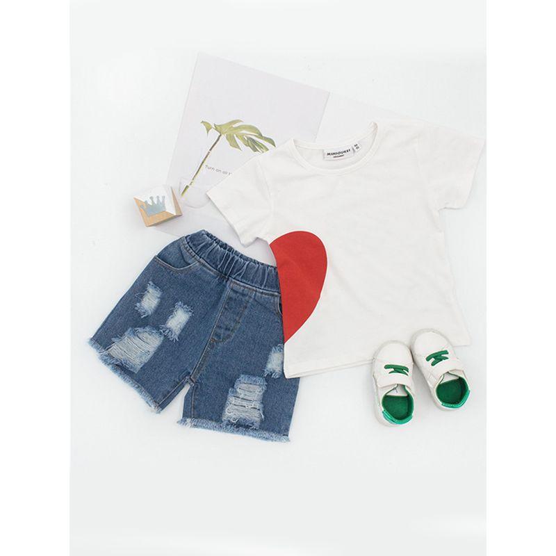 Heart Printed Kids Tops Cotton White Short Sleeves T-shirt For Toddler Girls Boys