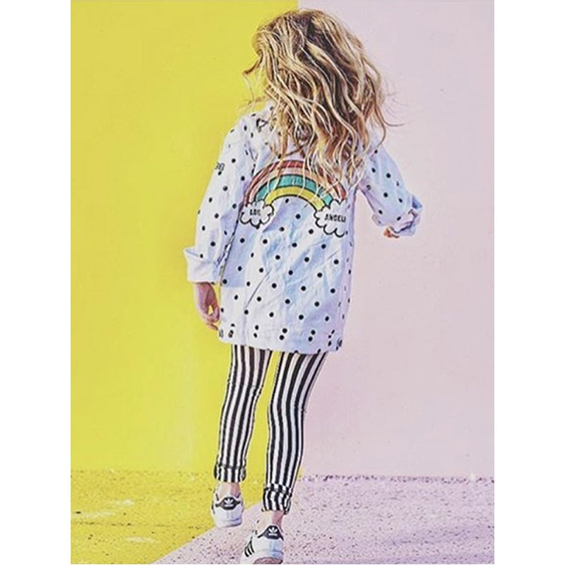 Letters Rainbow Printed Polka Dots Toddlers Kids Long Sleeves Cotton Coat