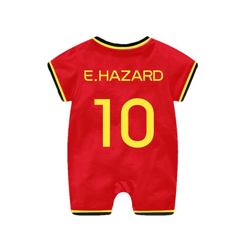 922b61d09 Belgium Hazard Football Soccer Jersey Pattern Romper Bodysuit 2018 Russia  FIFA World Cup for Baby Boys