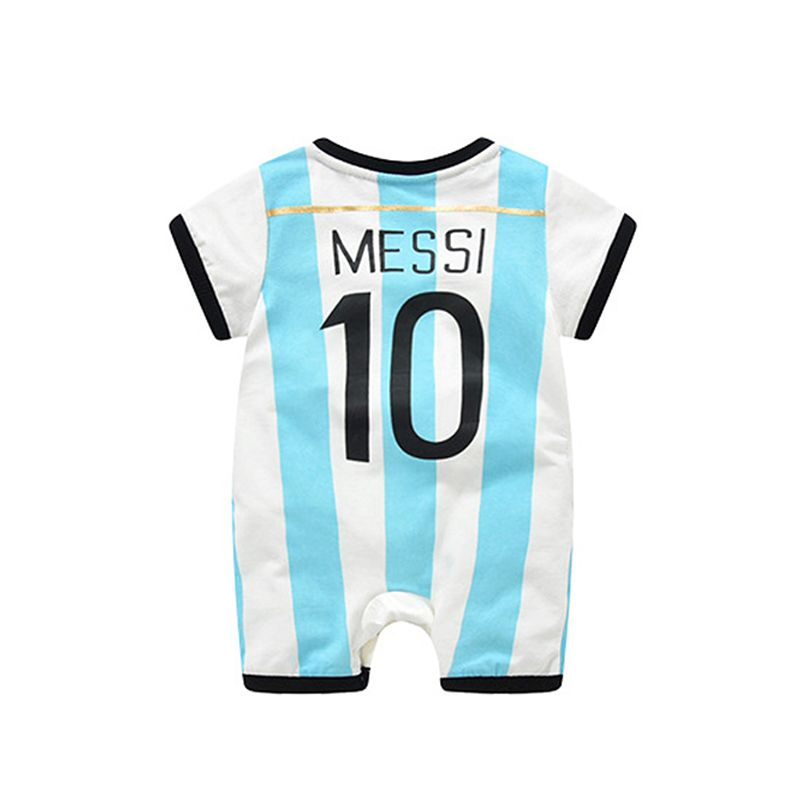d53dff7a341 Argentina Messi Football Soccer Jersey Pattern Romper Bodysuit 2018 Russia  FIFA World Cup for Baby Boys