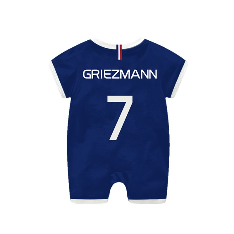 France Griezmann Football Soccer Jersey Pattern Romper Bodysuit 2018 Russia FIFA World Cup for Baby Boys