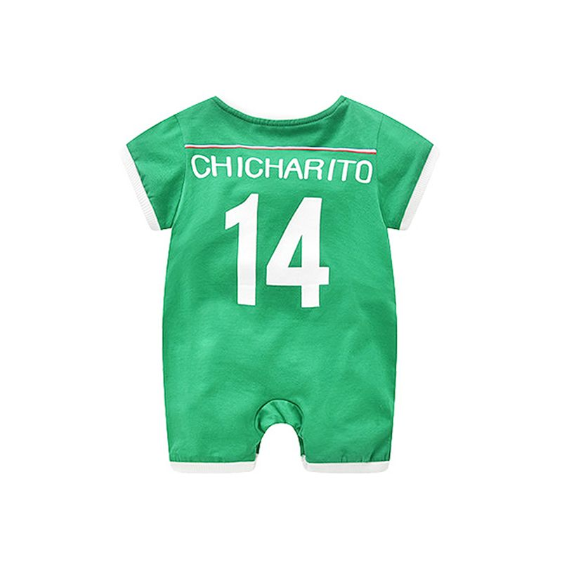 Mexico Chicharito Football Soccer Jersey Pattern Romper Bodysuit 2018 Russia FIFA World Cup for Baby Boys