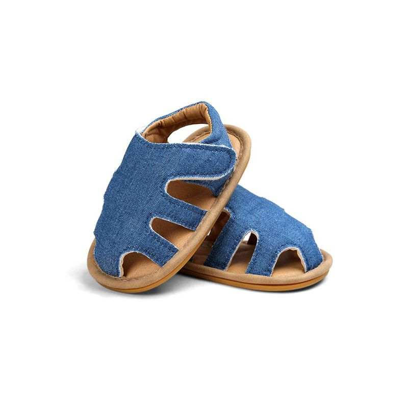 Pierced Soft-soled Solid Color Sandals Breathable Antiskid Pre-walking Crib Shoes Velcro for Baby Boy Girls