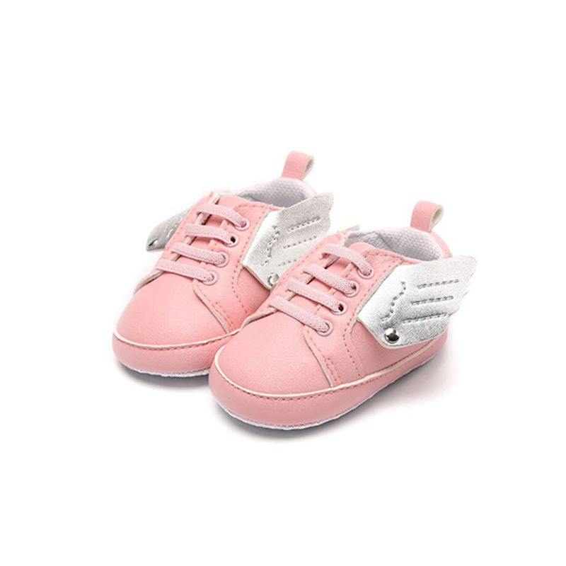 Angel Wings Soft-soled Solid Color Antiskid Pre-walking Crib Shoes Elastic Cord for Baby Boy Girls