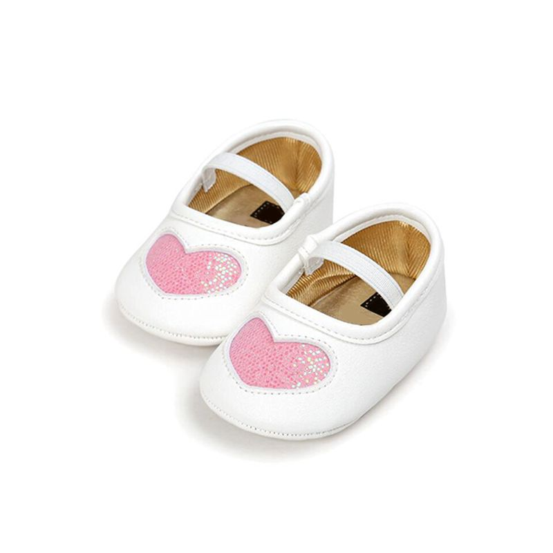 Heart Pattern Sequins Slip-on Pre-walking Shoes Soft-sole Antiskid Crib Shoes  for Baby Girls