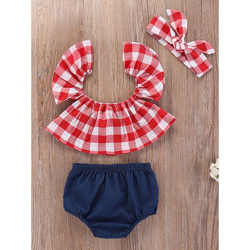 60ecdf26624 3-piece Headband Top Shorts Baby Girls Set Off Shoulder Plaid Blouse Denim  Panties