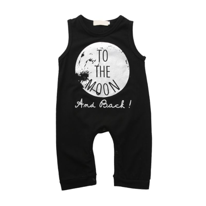 Moon Graphic Letters Printed Black Baby Romper Jumpsuit Sleeveless
