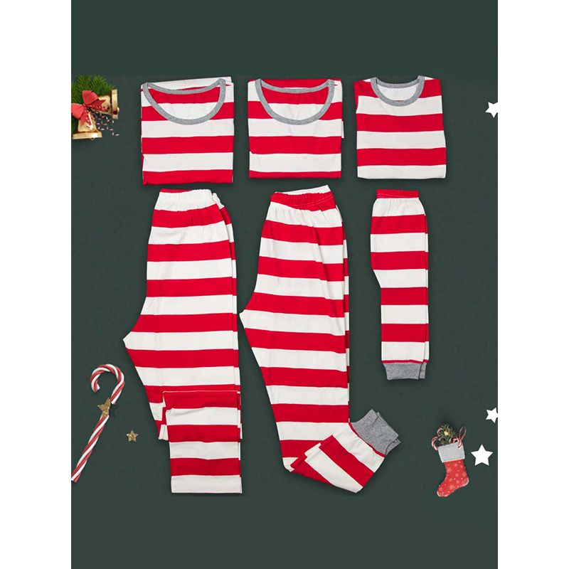 Family Matching 2-pieces Red Stripes  Top Pants Set Long sleeve Pajamas Home-wear Sleepwear for Dad/Mom/Kid