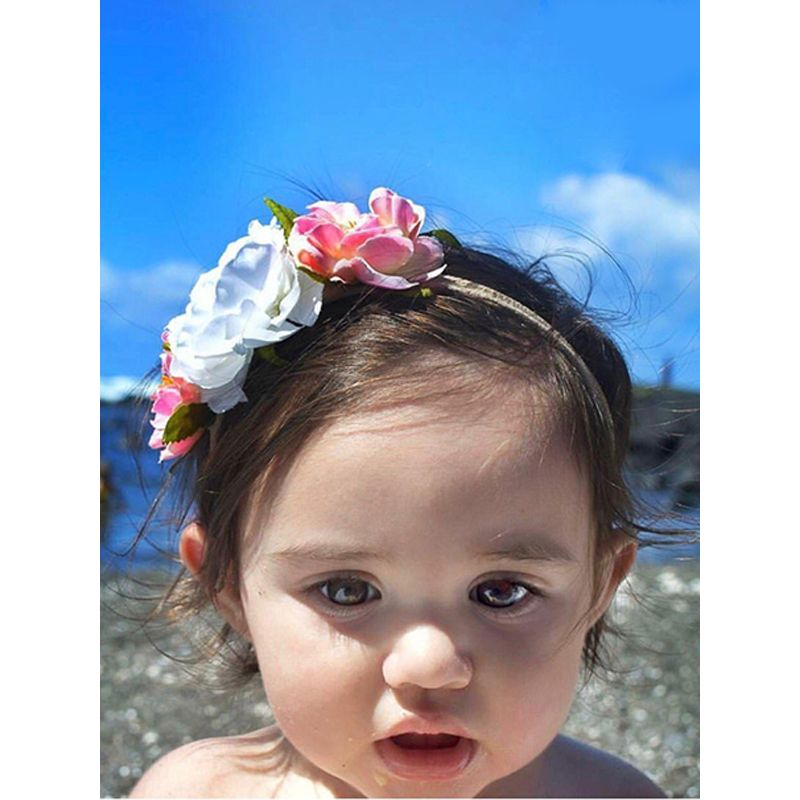 Artificial Flower Wings Beading Bohemia Style Baby Headband Hair Accessories