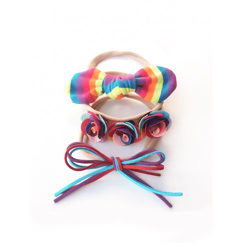 Nylon Colorful Bowknot Kids Hairband Rabbit Ears Hair Accessories Set