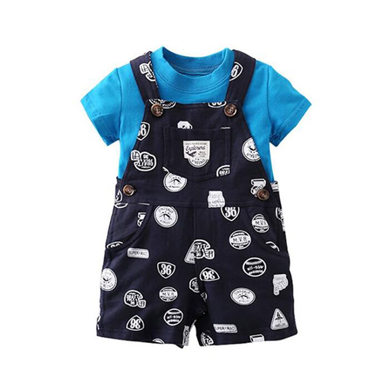 2-piece Print Tee Overalls Set Short-sleeve Top T-shirt Strapped Trousers for Baby Boys