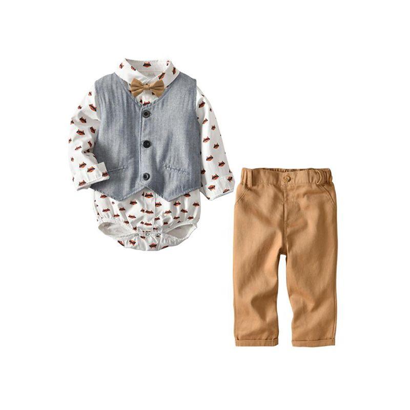 Fox Print Romper Vest Pants Set Long-sleeve Top Trousers for Baby Boys