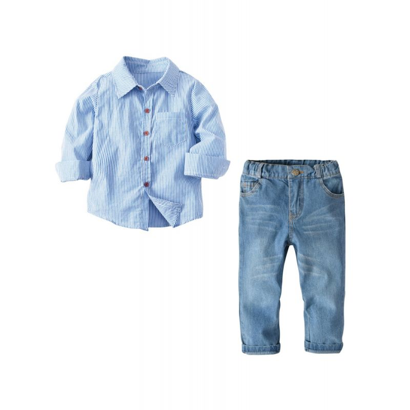2-piece Striped Shirt Jeans Set Long-sleeve Top Denim Pants Trousers for Toddlers Boys