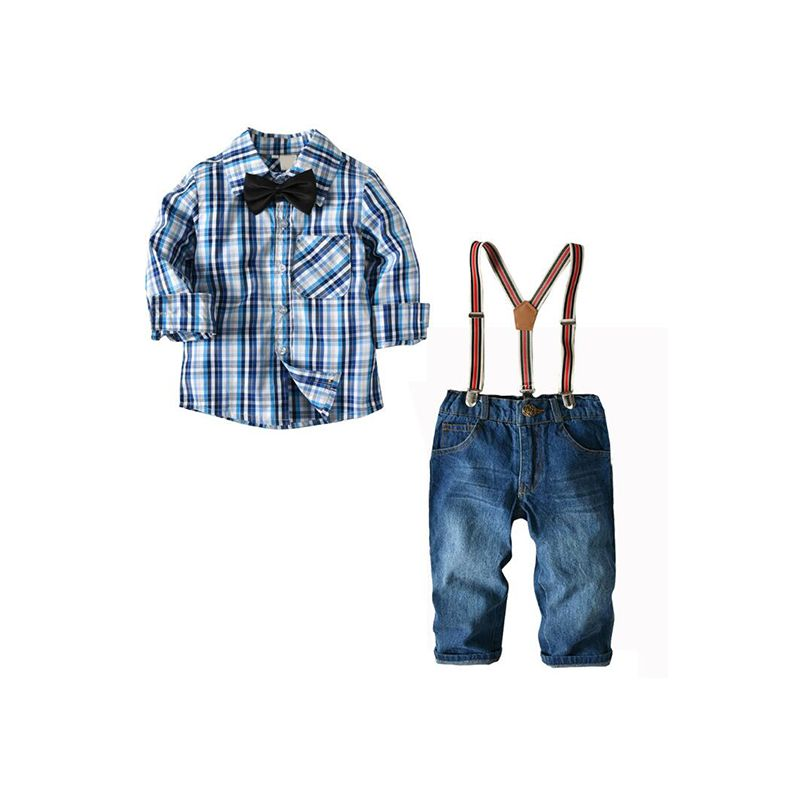 2-piece Plaid Shirt Jeans Set Long-sleeve Top Denim Pants Trousers for Toddlers Boys