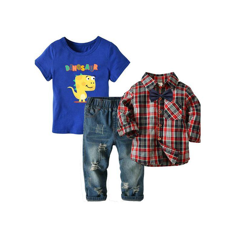 4-piece Plaid Shirt Jeans Tee Bow-tie Set Long-sleeve Shirt Dinosaur T-shirt Top Denim Pants Trousers for Toddlers Boys