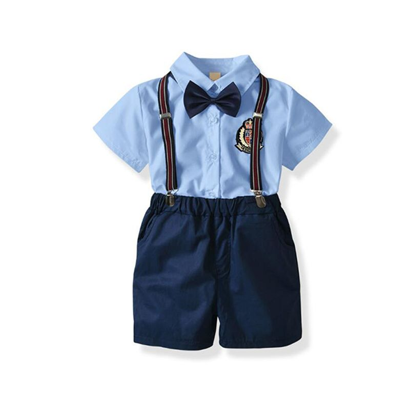 4-piece Short-sleeve Shirt Shorts Bow-tie Straps Set Boys Suit School Wear Party Wear for Babies Toddlers Boys