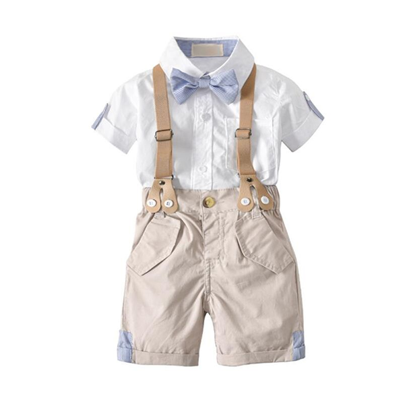 4-piece White Shirt Khaki Shorts Bow-tie Straps Set Boys Suit School Wear Party Wear for Babies Toddlers Boys