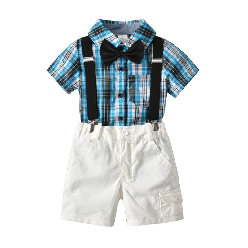 4-piece Plaid Tee Shorts Set Bow-tie Straps Buttoned Top Shirt School for Toddlers Boys