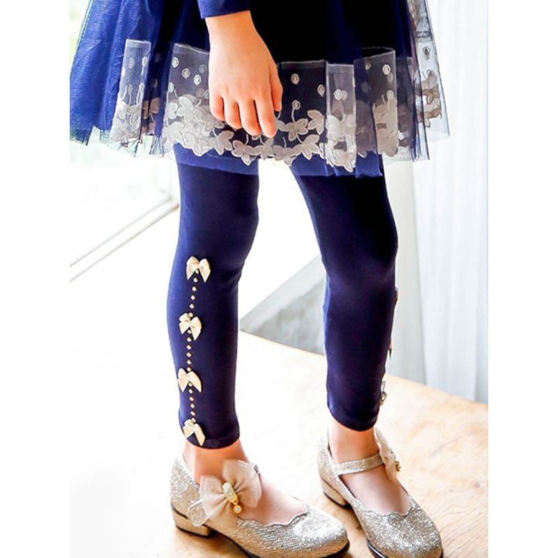 Sequins Bowknot Stylish Leggings Pants Trousers for Toddlers Girls