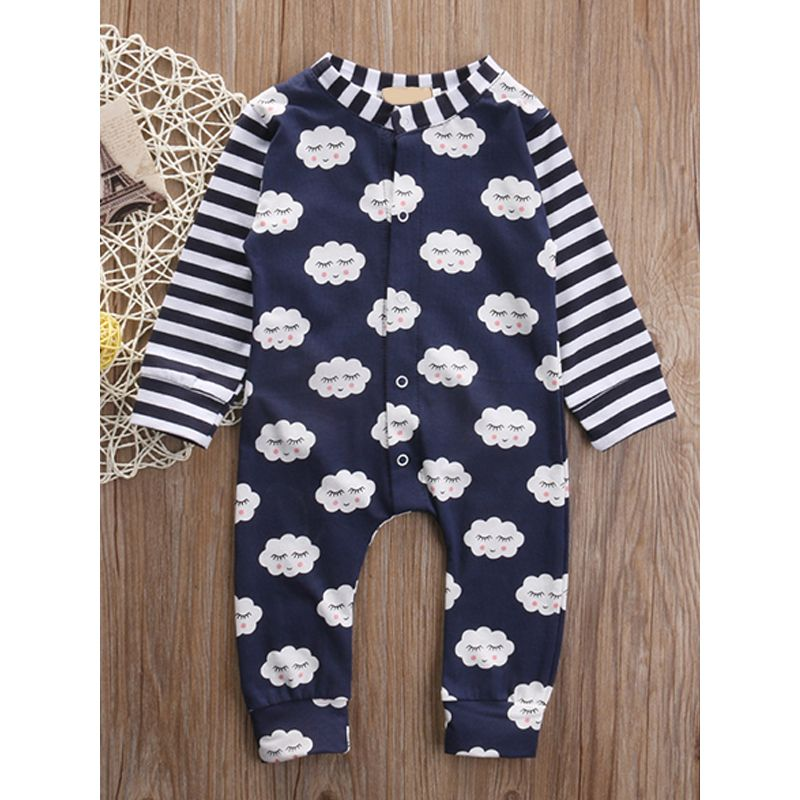 Clouds Printed Splicing Striped Baby Romper Jumpsuit Long Sleeves Blue