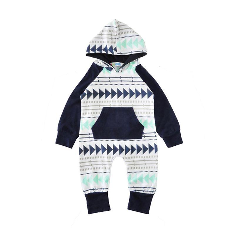 Triangles Arrows Printed Splicing Hoodie Baby Romper Bodysuit