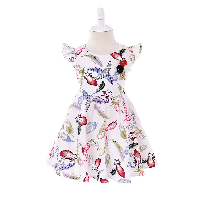 Colorful Feathers Printed Cap Sleeves Toddler Girls Dress Appliqued
