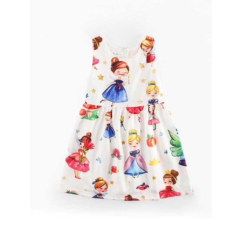 Cartoon Princess Print Pleated Dress Sleeveless for Girls