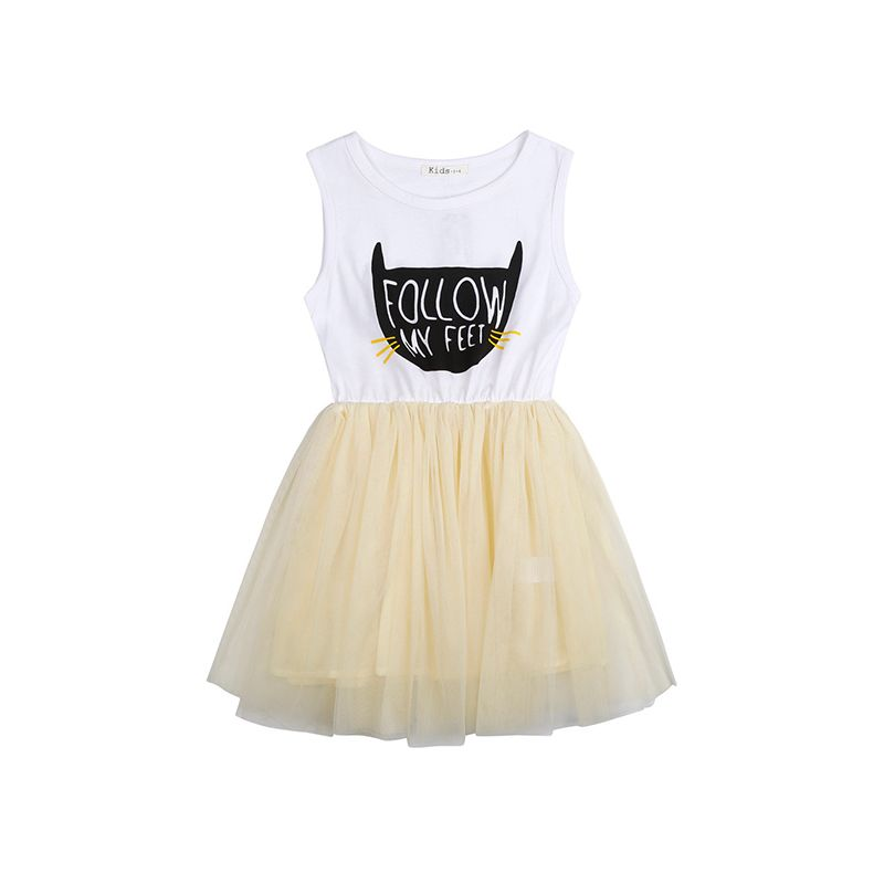Paneled Cat Print Tutu Princess Dress Tulle Sleeveless for Girls