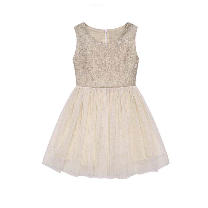 Paneled Floral Lace Tutu Princess Dress Party Tulle Sleeveless for Girls
