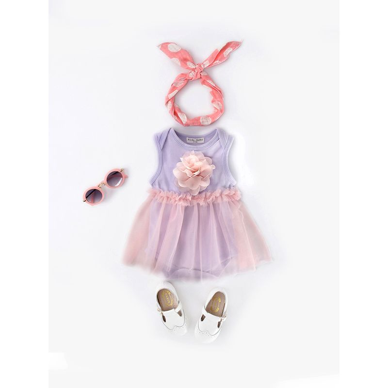 Cute Paneled Floral Tutu Romper Dress Birthday Party Tulle Sleeveless for Baby Girls