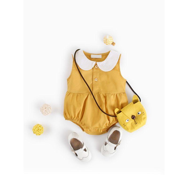 Cute Peter Pan Collar Cotton Romper Sleeveless Bodysuit for Baby Girls