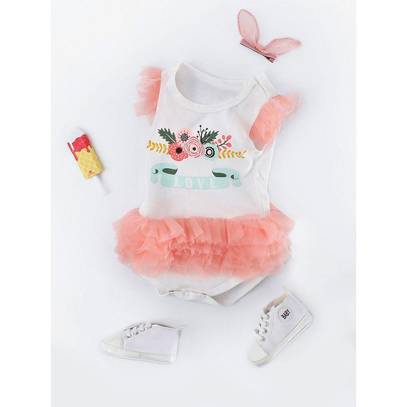Cute Flowers Print Tulle Tutu Romper Sleeveless Bodysuit for Baby Girls