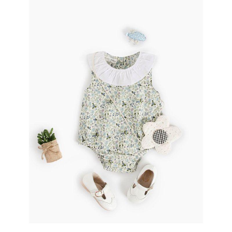 Light Green Flowers Print Romper Sleeveless Bodysuit for Baby Girls