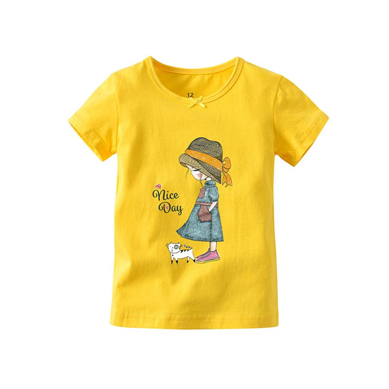 Cute Cartoon Princess Print Tee Top T-shirt for Baby Toddler Girls