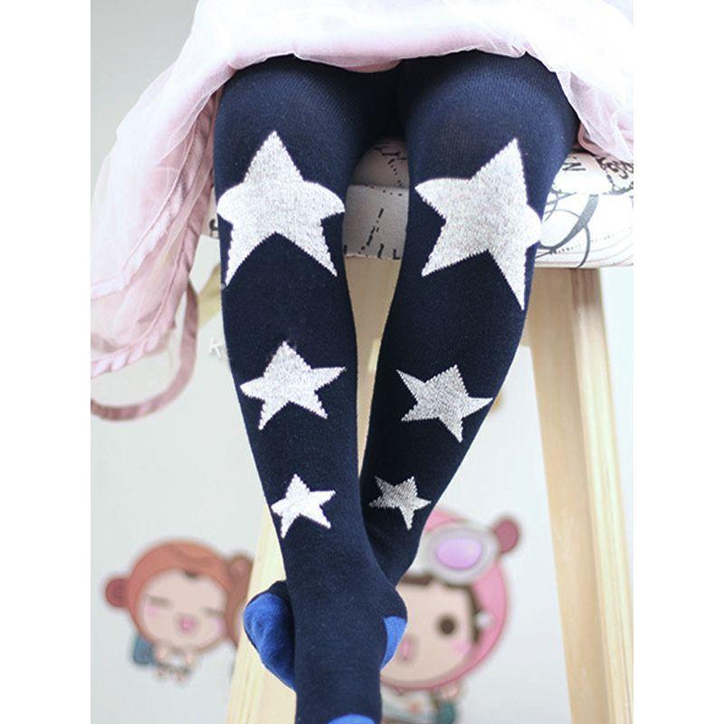Stars Print Elastic Leggings Pantyhose Dance Wear for Toddlers Girls