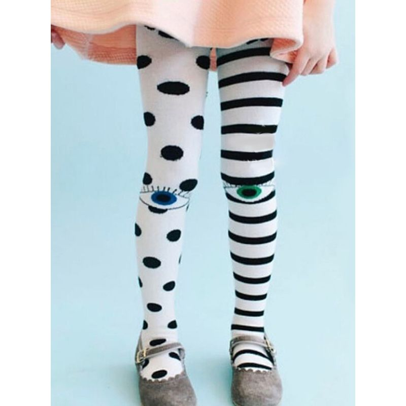 Eyes Stripes Dots Print Elastic Leggings Pantyhose Dance Wear for Toddlers Girls